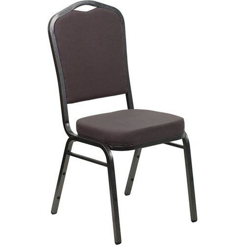 Flash Furniture HERCULES Series Crown Back Stacking Banquet Chair in Gray Fabric - Silver Vein Frame