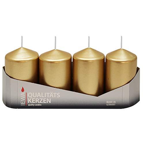 4er Tray Stumpenkerzen Gold lackiert, Größe ca. 50 x 80 mm Adventskerzen Weihnachtskerzen Säulenkerzen