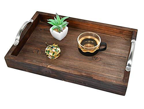 Decorative Ottoman Serving Tray – Kitchen/Coffee Table/Home/Breakfast, Wooden server Platter, Farmhouse Décor Storage Organizer W/Silver Stainless Steel Handles - Teak Color