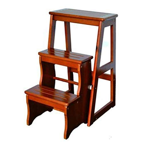 LILIS Wooden Step Stool Solid Wood Creative Home Folding Ladder Frame Staircase Chair Step Stool Indoor Mobile Ascending Ladder Stool 28.5× 57 ×64.5cm (Color : A)