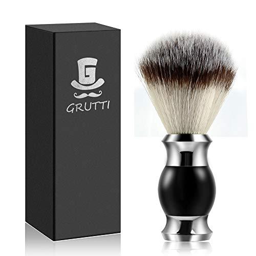 Brocha de afeitar GRUTTI, brocha de afeitar de fibra de silicona sintética y vegana amigable para los veganos Barber Salon Men Facial Barba Cleaning Shaving- Black Foam Razor Brush