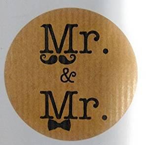 100 Etiquetas kraft boda gay, 100 Stickers Same Sex Gay Wedding Mr&Mr