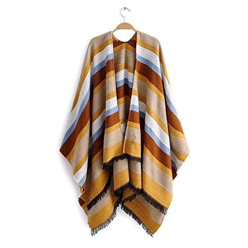 RONGJJ Schal Geteilter Schal Damen Stola Warm, Perfekt für die Übergangszeit, Strapazierfähiger Mode Frauen Farbstreifen Wandern