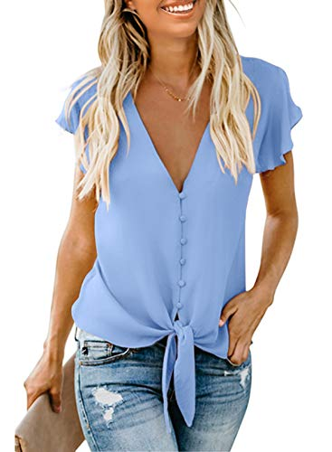 FIYOTE Oberteile Damen Bluse Elegant Hemdbluse Button Down Shirts Casual Langarm Tunika Tops mit Brusttaschen hellblau M