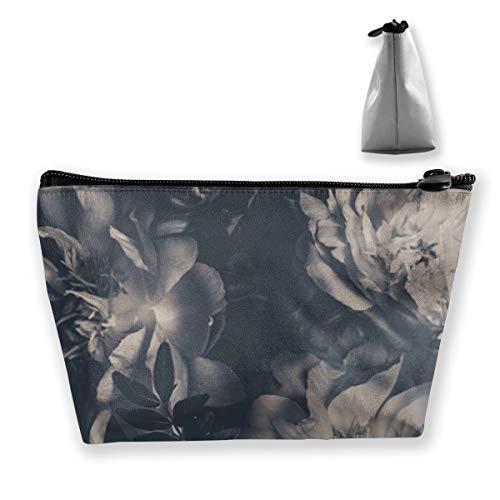 Vintage Bouquet de pivoines Décoration florale Fond floral Noir et blanc Grand sac de maquillage Organiseur pour femme