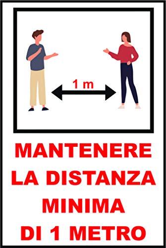 Cartello MANTENERE LA DISTANZA MINIMA DI 1 METRO - COVID-19 in alluminio 16,5x25 cm