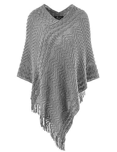 Ferand Eleganter Bequemer Damen Poncho Pullover mit Chevronstreifen und Fransen, One Size, Grau