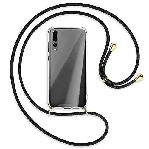 TBOC Funda para Huawei P20 Pro [6.1 Pulgadas] - Carcasa Transparente con Cuerda [Negra] para Móvil Cordón Ajustable Práctico Collar de Moda Cadena para Cuello Resistente Arañazos
