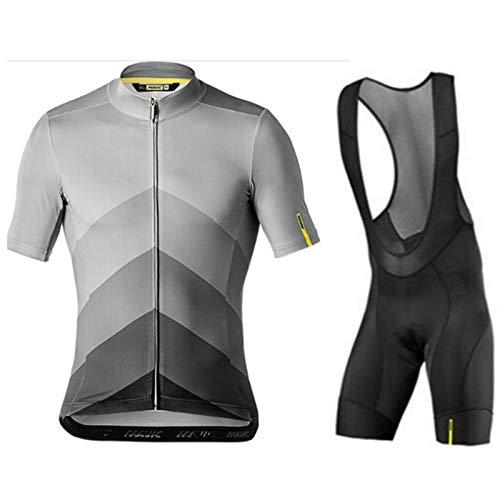 Hombres Mountain Bike Cycling Jersey Set Jersey de Ciclismo Camisa de Manga Corta + 9D Gel Bib Pantalones Cortos de Bicicleta