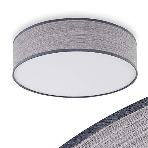 Deckenleuchte Chazy, runde Deckenlampe aus Kunststoff/Textil in Weiß/Grau/Holzoptik, 1-flammig, 1 x E27-Fassung, 15 Watt, Retro/Vintage-Design, geeignet für LED Leuchtmittel