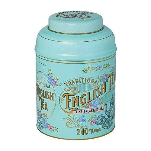 New English Teas Vintage Victorian Tea Tin Caddy with 240 English Breakfast...
