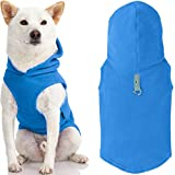Gooby Fleece Vest Hoodie Dog Sweater - Blue, Large - Warm Pullover Dog Hoodie with O-Ring Leash - Winter Hooded Small Dog Sweater - Dog Clothes for Small Dogs Boy or Girl, and Medium Dogs
