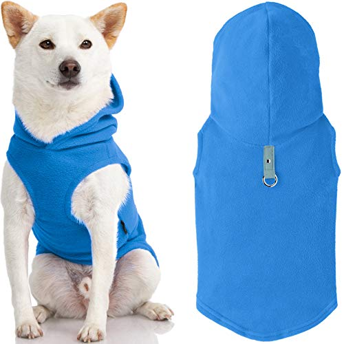 Gooby Fleece Vest Hoodie Dog Sweater - Blue, X-Large - Warm Pullover Dog Hoodie with O-Ring Leash - Winter Hooded Small Dog Sweater - Dog Clothes for Small Dogs Boy or Girl, and Medium Dogs