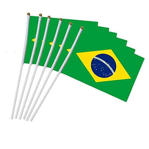 Aeromdale Mini-Flagge mit weißem Mast, lebhafte Farben & lichtwiderstandsfähige Handflaggen, Teil A, Brasilien, 10 Stück