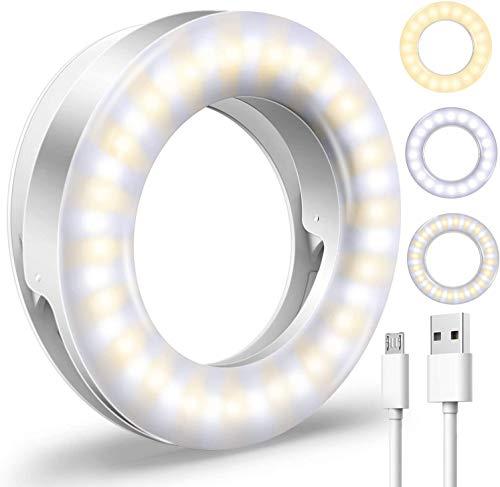 Anillo de luz LED para selfie, 3 modos de iluminación, recargable, brillo ajustable, 40 LED, clip en la cámara del teléfono, luz LED portátil