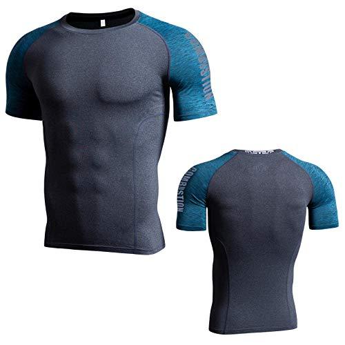 Cxypeng Schnell Trocknend Lauf Fitness Sport T-Shirt,Stretch atmungsaktiv eng anliegende Pro-Klamotten Fitness-Klamotten, schnell trocknende T-Shirts-grau_M,Funktionsshirt