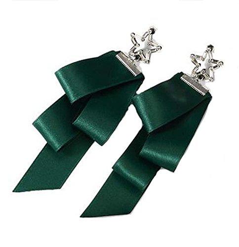 Boucles d'oreilles asymétriques en forme de ruban de style européen, vert