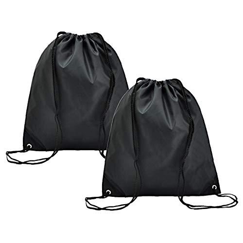 HEIGOO 2 Bolsas con cordón, Bolsa Impermeable con cordón, Uso para Actividades al Aire Libre, Deportes, Vacaciones, escuelas, supermercados, Viajes o Almacenamiento en el hogar, Color Negro