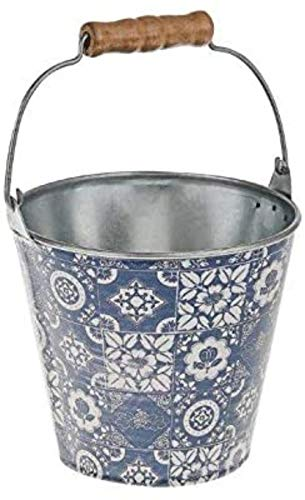 Desconocido Macetero de Metal con Asas de Madera, diseo de Azulejos, Color Azul y Blanco, Estilo Vintage