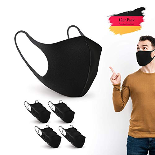 BartZart 12er Staubschutzmasken aus EIS Seide I waschbar und wiederverwendbar I Face Mask Black I Flexible Mundschutzmaske I Nasenschutzmaske I Motorrad Maske I Staubmaske (12 Stück)