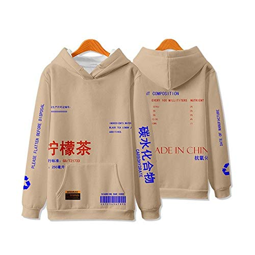Chinese Style Hoodie Lemon Tea Text Printing Hip Hop Winter Fleece Cotton Autumn Tops Kanji Harajuku Sweatshirt Streetwear Pullover Khaki Stretch Lightweight Breathable Men Women Unisex,4XL