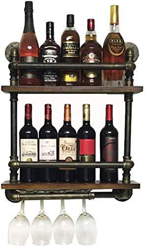 LONGWDS Escultura Botellero en dos niveles con botellas de vino, estantes de almacenamiento para tuberías de agua, estilo vintage, decoración creativa, color negro, 52 x 15 x 60 cm Adornos