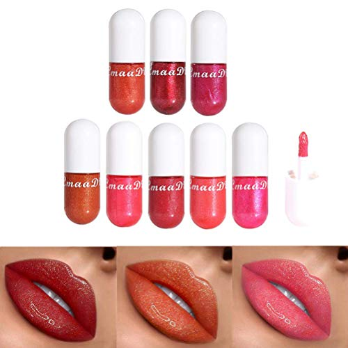 Suszian Ensemble de Rouge à lèvres, 8 Couleurs 3D Brillant Diamant Rouge à lèvres nacré hydratant Cristal gelée Brillant à lèvres Lip Plumpers Set pour Beauty Set Tools