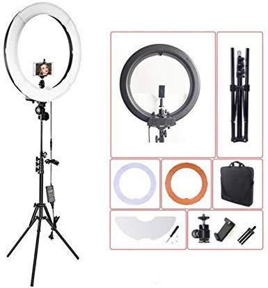 Anello KIT18 luce pollici, 3200-5600K luce dimmerabile a LED anello luminoso con il supporto, videotelefono, accessorio adattatore artiglio per la lavorazione della pellicola ritratto (nero).