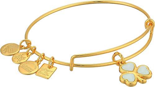 Alex and Ani Crystal Shamrock Bangle Bracelet Shiny Gold One Size