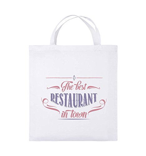 Comedy Bags - The Best Restaurant in Town - Jutebeutel - Kurze Henkel - 38x42cm - Farbe: Weiss/Rosa-Violet