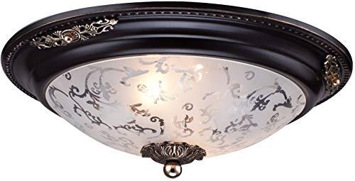 Lámpara, Plafón de techo, espléndido, de metal color marrón y dorado y tulipa de vidrio blanco bombillas no incl,E14 2 x 40 W 220 V