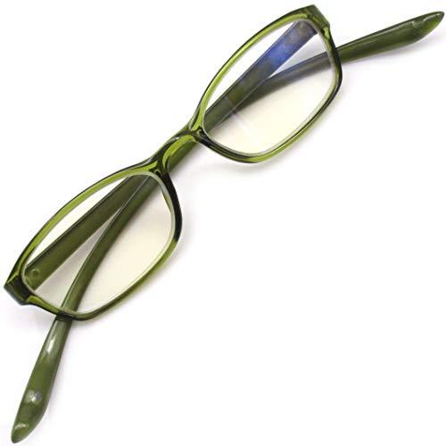 首かけ 老眼鏡 おしゃれ シニアグラス 軽量 リーディンググラス ブルーライトカット (グリーン +2.00)