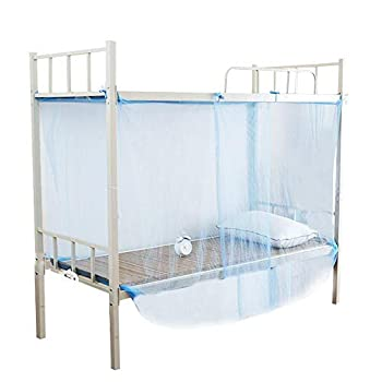 Hongzer Mosquito Net 4 Corner Post Bed Canopy Mosquito Net Twin Full Queen Size Netting Mosquito net for bunk beds Blue 120x195x150cm