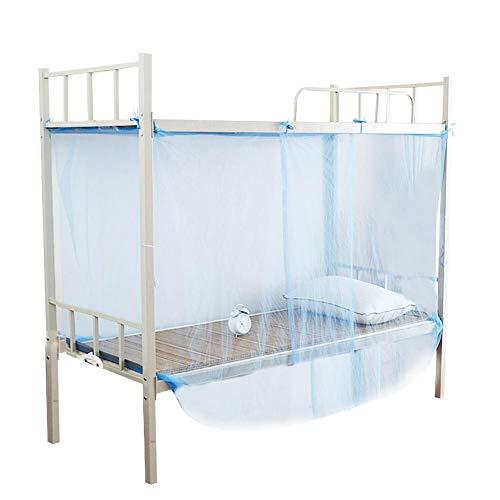 Jadpes Klamboe, 4 hoekpalen, gezellig gedrapeerd vierkant filetwerk voor tweepersoonsbed-prinses Bedroom Decoratie, blauw