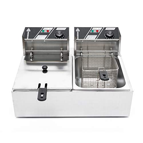 Xriziray Electric Deep Fryer w/Basket & Lid 5KW 60Hz 110V 12L Countertop Kitchen Frying Machine Stainless Steel French Fryer for Turkey, French Fries, Donuts and More