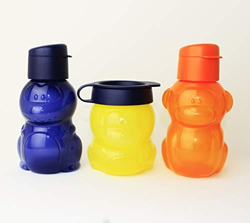 TUPPERWARE EcoEasy Trinkflasche to go 2X 350ml Motiv Dino Dunkelbau + AFFE Orange + 300ml Snackbox Dino Gelb/Dunkelblau + Kugelschreiber
