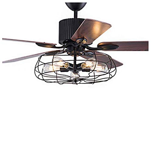 IGOSAIT Lámpara de araña, Industrial Ventilador de Luz de Techo Colgante de Luz Semi Flush 5 Luces 52'' de Ancho a través de Control Remoto de Luz de Techo