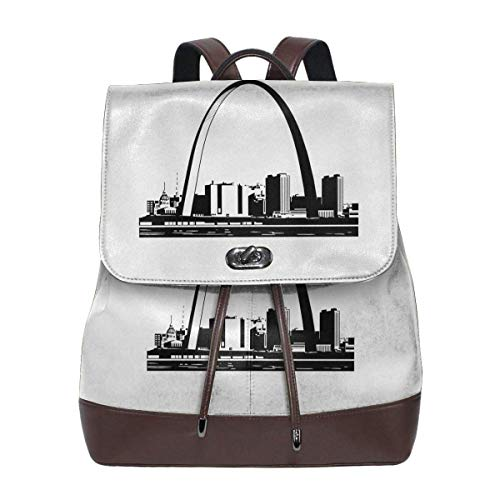 Flyup St-Louis-Skyline-Clipart-1 Microfiber Leather Backpack Ladies Elegant Ladies Travel Shoulder Bag Mochila de cuero para mujer