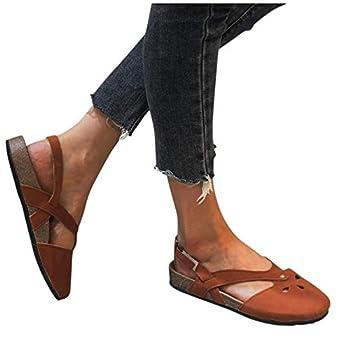 Sandals for Women,Womens Studded Flat Sandals Wedge Sandals Casual Summer Beach Sandals Flip Flops Sparkly Shoes Orange
