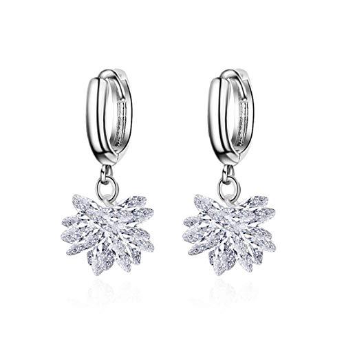 CQOQ Precioso Copo De Nieve Cubic Zirconia Crystal Stud Pendientes Mujer 925 Joyería De Plata Esterlina Pendientes De Fiesta De Boda