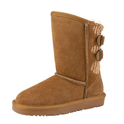 DREAM PAIRS Boys Girls Warm Faux Fur Lined Mid Calf Shearling Winter Snow Boots Sweaty-Buckle-K Chesnut Size 5 M US Big Kid