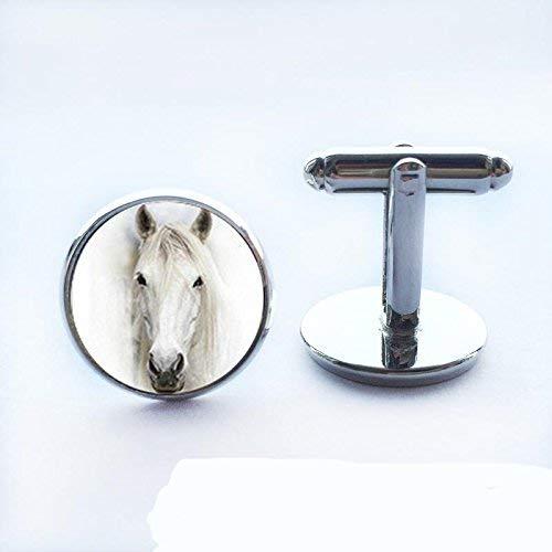 Gemelos de cristal con diseño de caballo blanco vintage, color plateado, para hombre, mujer, hecho a mano, novio, boda, regalo de Navidad