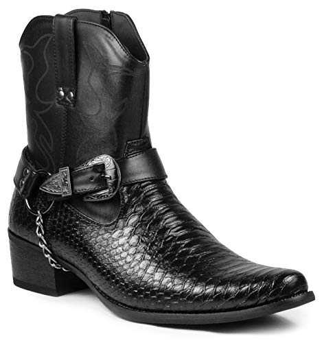 Metrocharm Diego-01 Men's Belt Buckle Chain Strap Western Cowboy Boots (7, Black)