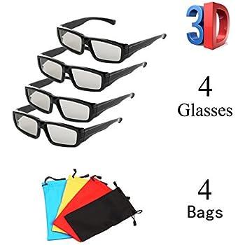 Occhiali polarizzati passivi unisex da 4 Pack per LG, Sony, Panasonic, Toshiba, Vizio e tutti i TV 3D passivi Occhiali RealD 3D Cinema per guardare film Family Pack Novità Lenti polarizzate circolari