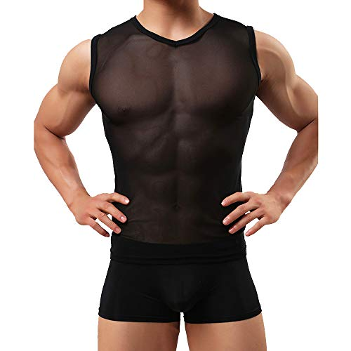 Sandbank Ropa Interior T-Shirt para los Hombres Negro Manga Larga Malla Superior...