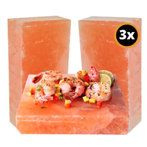 The White Bull® Premium Salzstein | (3er Set) | 20x10x2,5 cm zum Grillen | Grillsalzstein für Fleisch, Fisch, Gemüse mit leckerer Salzkruste als Geschenk für Grill Zubehör