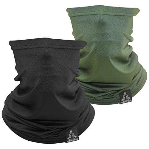 Temple Tape Lightweight Breathable Cooling Neck Gaiter- Men & Women, Multi-Use Face Mask; Running & UV Protection - 2 Pack Black & Hunter Green