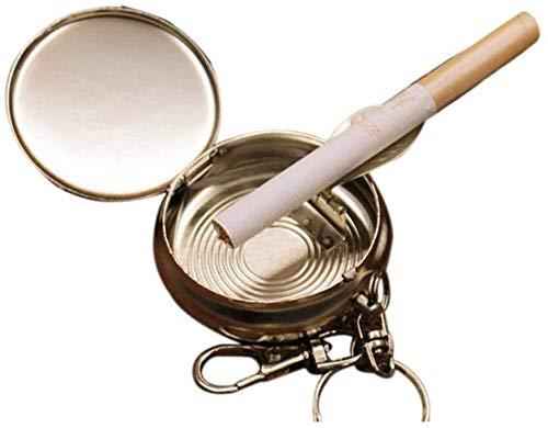 AMITD Mini draagbare metalen kleine asbak rond milieu asbak met sleutelhanger voor outdoor rookgereedschap accessoires