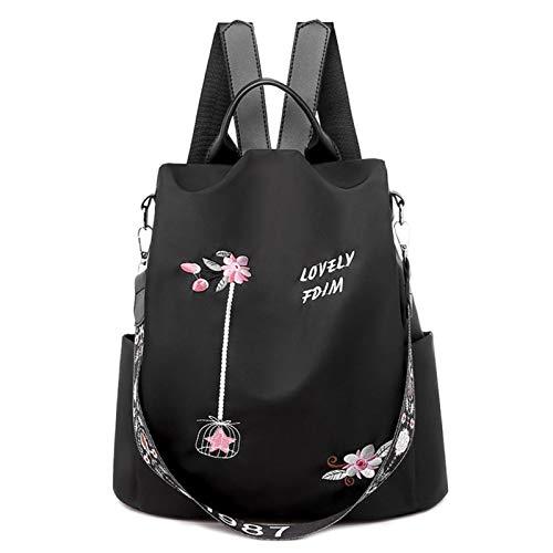 Casual Oxford tela mujeres mochila flor bordado mujer hombro escuela libro bolsas diario viaje antirrobo mochila