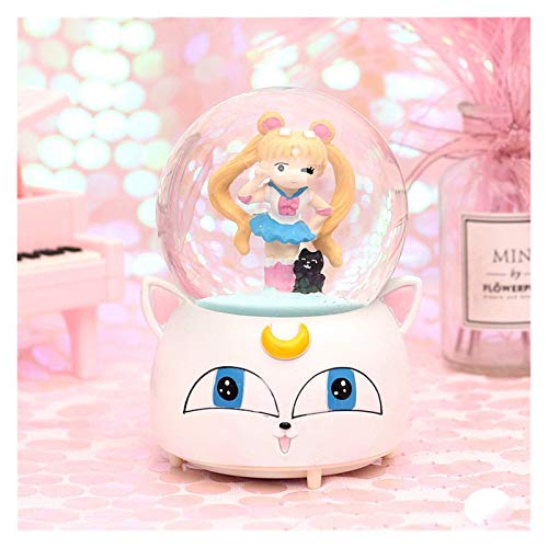 NDYD Sailor Moon Crystal Snow Globos Caja de música de Cristal Bola de Nieve Oficina en casa Decoración de Interiores Navidad (Color: Amarillo) DSB (Color : Big)